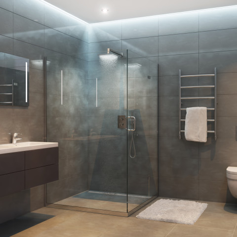 Gray modern shower room in the evening