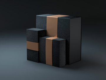 Three black boxes with golden label cover for branding, 3d rendering