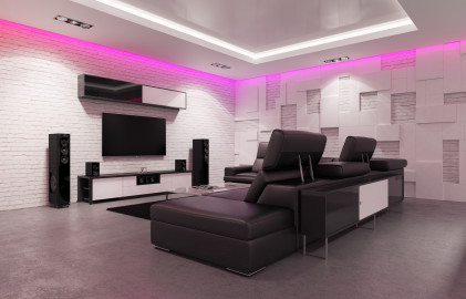 Home Theater Interior with Billiard Table. 3d Illustration.